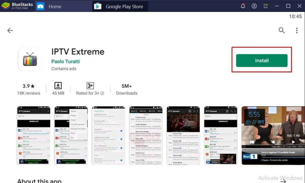 IPTV Extreme for PC Using BlueStacks